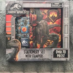 New Jurassic world stationery set w/ stampers 70pc